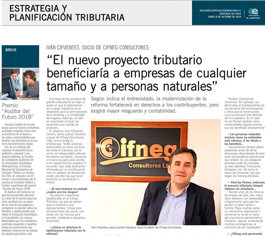 """Publicación """"Diario El Mercurio"""". Octubre 2018. Título: El nuevo proyecto tributario beneficiaría a empresas de cualquier tamaño y a personas naturales""""."""